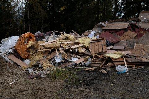 Søppel: Store mengder søppel er dumpet.