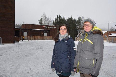 Dårlig nytt: Aina Heimlund Hensgaard (til venstre) og Irene Aspeslåen i FAU forstår lite av rådmannen forslag om å legge ned Fagernes skole.