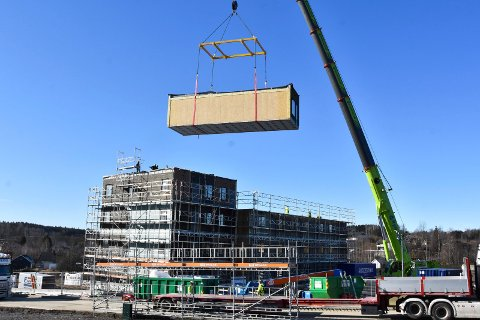 Stor byggeaktivitet: Moelven bygger i stort tempo og tjener gode penger viser tallene. Det stiller Byggmesterforbundet spørsmålstegn ved. Her fra bygging i Nydal park.