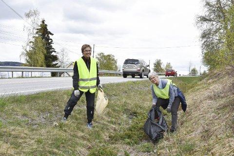 FIKK NOK: Anne Årnes (t.h.) var lei av å se på at søpla fløt langs Nesvegen. Venninnen Inger Slaatsveen stilte gjerne opp på en dugnad.