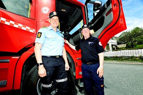 Politistasjonssjef Terje Krogstad og brannsjef Knut Birger Bakken i Lillehammer, advarer mot bålbrenning og ber folk renske bekkefar og stikkrenner nært hus og heim for å unngå flom inn i boliger og kjellere.