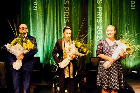 PRISVINNERE: Fritt Ords Pris ble i dag tildelt forfatterne Jan Grue, Bjørn Hatterud og Olaug Nilssen.