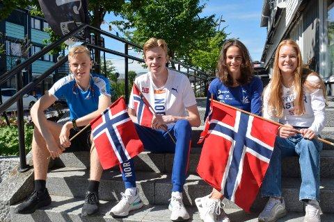 Landslagsklare: Moelven Friidrett kan skilte med to løpere på U20-landslaget og to løpere på U23-landslaget. Her ser vi talentene, fra venstre: Andreas Grimerud, Håvard Bentdal Ingvaldsen, Sigrid Kongssund Amlie og Maren Bakke Amundsen.