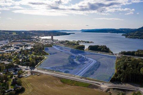 Ikke sjukehustomt: Området Strand og Pellerviken som ikke er blitt mindre aktuelt etter vedtaket om å bygge Mjøssykehuset i Moelv. Nå skal arbeide med å få inn aktuelt næringsliv her startes opp igjen.
