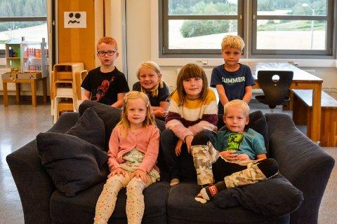 1. KLASSINGER: Denne gjengen er blant de tolv elevene som snart begynner i 1. klasse ved Gaupen skole. Fra venstre bak: Robin, Kaja, Jenny, Sverre. Fra venstre foran: Eline og Aksel.