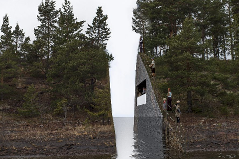 Minnestedet på Sørbråten. Skisse: Jonas Dahlberg