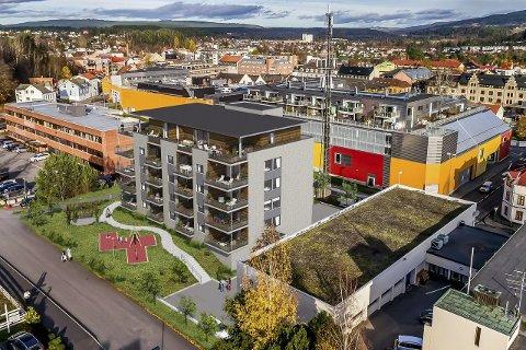 I Telegrafalleen er 18 leiligheter solgt. Lafton boligs prosjekt ligger like ved Justisbygningen (til venstre) og Kuben (bak). (Skisse: SG Arkitektur)