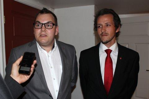 Jim Hagen Warp (t.v) og Marius Jenssen (26), kommunestyrekandidater i henholdsvis Ringerike og Hole kommune.