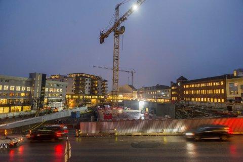 Hønefoss sentrum, gamle taxiholdeplassen, samfunnshuset, sentrumskvartalet, brutorget