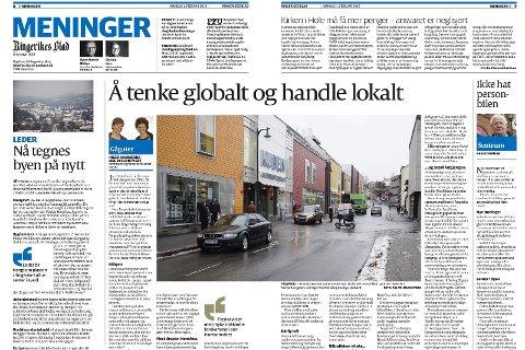 Ringerike Høyre ønsker å gjøre det klart at ingen av innleggene er behandlet eller forevist til andre i Ringerike Høyre, skriver Runar Johansen og Marit Hollerud. Faksimile av innlegg 1. februar.