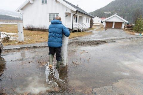 Flom på Nes i Ådal i 2015. Bjørn Erik Dammen fikk litt vann i kjelleren, men det ble fort pumpet ut.