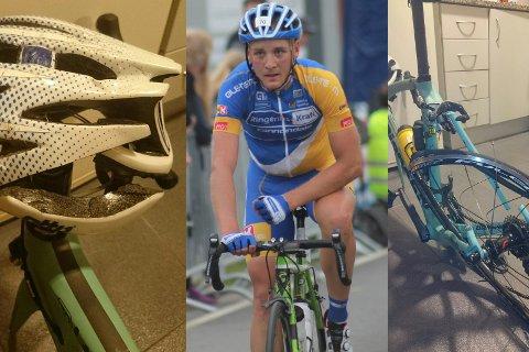 Audun Brekke Fløtten er på tohjulingen igjen etter påkjørselen i Spania, hvor sykkelen ble vrak, men hjelmen trolig hindret alvorlige hodeskader.