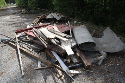 Byggematerialer, platsrør, papp og annet søppel er kastet i skogkanten på Eggemoen.