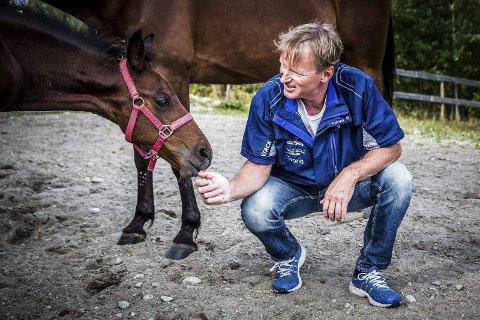 SØNN AV YARRAH: - Blir du like god som pappa'n din? spør Trond «Buller'n» Anderssen og ser bort på Yarrah Classic, født i mai i 2016 – og foreløpig uvitende om forventningene som følger med den ganske forpliktende avstamningen.Foto: Eirik Stenhaug/Equus