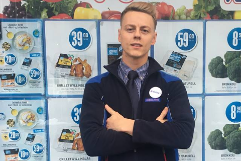 Mats Lehne fra Hønefoss driver Rema 1000 butikk i Bergen. Foto: Privat