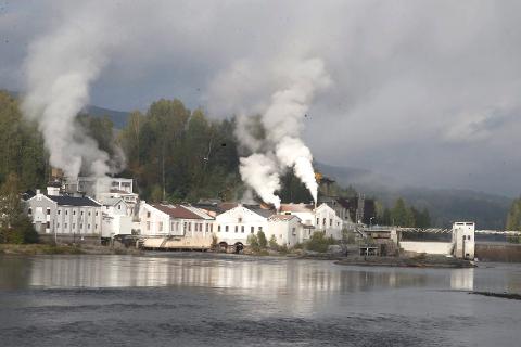 Hellefoss Papirfabrikk bruker 120.000 kubikkmeter tømmer i året i produksjonen. Foto: Anders Kongsrud.