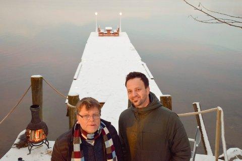 FJORDKINO: Velforeningsleder Lars M. Brenna (til høyre) og Bjørn Frode Egelandsdal vil invitere til fjordkino til sommeren.