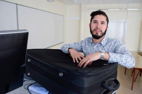 SEN BAGASJE: Ali Aminis koffert kom fram til feriemålet en dag før han skulle reise hjem igjen.