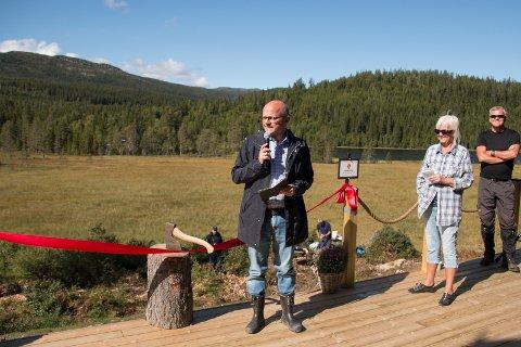 Åpning: Klima- og Miljøvernminister Vidar Helgesen stod for den offisielle åpningen av Vikerfjell naturreservat.