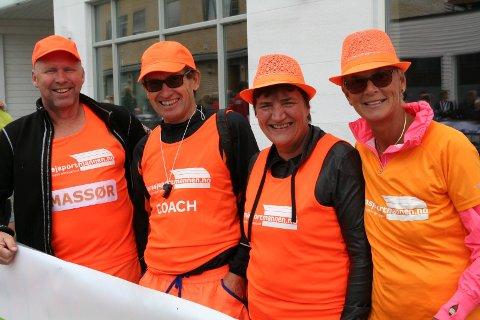 Folka bak: Erik Sulland, Erling Hungerholdt, Jane Sulland og Lise Hungerholdt utgjør støtteapparatet til Garasjeportmannen.