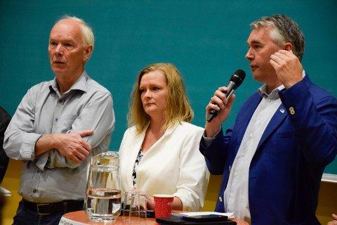 To av disse tre kommer inn på Stortinget, ut fra forhåndsstemmetallene. Per Olaf Lundteigen og Trond Helleland ser ut til å få fire nye år, mens Anne Sandum ikke får stortingsplass.