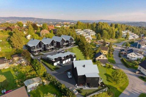 Fem av de seks boligene i Hengsle hage er nå solgt. Illustrasjon: Eiendomsmegler 1/RingBolig Utvikling