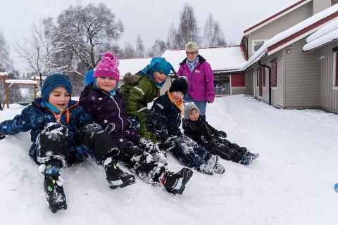Mye snø er flott når du går i barnehage. Kari Haugerud Dahl har plass til enda flere barn i Hov barnehage. Barna er Andre, Maja, Ludvig, Viktor og Brage.