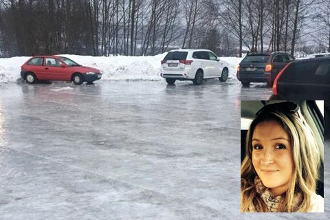 Maria Therese Andresen-Aldersjøen fortalte om glatt parkeringsplass utenfor Toso skole. Kommunen forsikrer at den jobber nærmest døgnet rundt for å strø der det er glatt. Foto: Privat