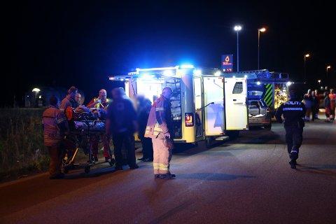 ULYKKE: En bil frontkolliderte med en motorsykkel på Kilemoen. MC-føreren fikk lettere skader.