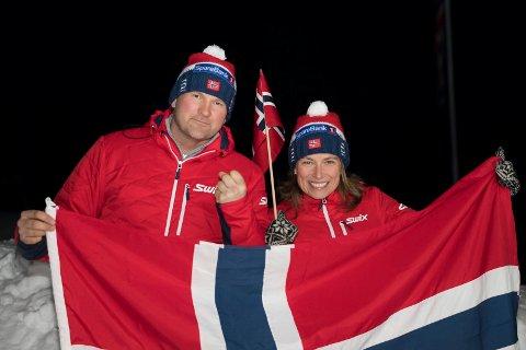 Pakket og klar: Heidi Johnsrud og Espen Bjerke skal heie på norske skiløpere i OL.