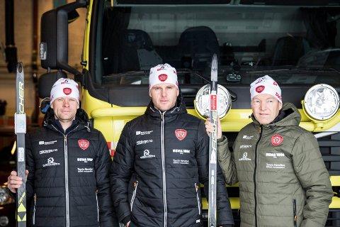 Sikter mot toppen: Ringerike brann- og redningstjeneste håpet å ta gull med Lars Berghagen, Kjetil Engelstad og Morten Strømsodd på stafetten, og de innfridde forventningene.