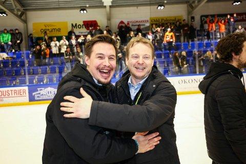 Feiret: Martin Boork og Per Braxenholm feirer etter opprykket i 2018. Duoen styrer fortsatt Panthers-skuta, og nå er de tilbake i det gjeveste selskapet.