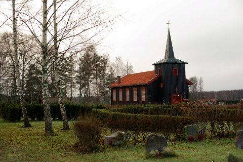 Flomfare: Ask kapell og gravplassen ved kirken.
