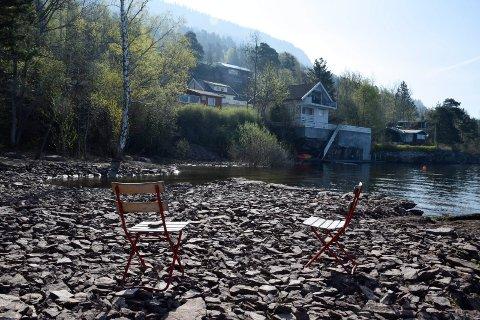 FYLT IGJEN: Ei bukt er blant annet fylt igjen på strandeiendommen ved Tyrifjorden.