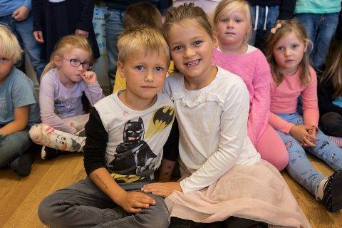 Tvillinger: Tvillingparet Oliver og Ella Sofie på tvillingskolen Tyristrand skole.