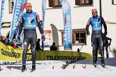SLÅTT PÅ MÅLSTREKEN: Tord Asle Gjerdalen (høyre) ble nummer to i La Diagonela, kun slått av lagkamerat Andreas Nygaard.