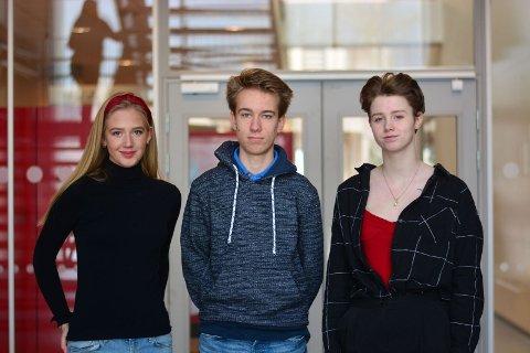 UNGE OG ENGASJERTE: Nora Drægalid (17), Ivar Vamraak Fredriksen (16) og Emilie Linnea Kozak Kristoffersen (18) leder hvert sitt ungdomsparti.