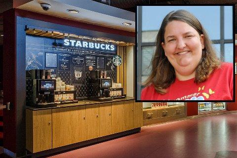 GLEDER SEG: Slik presenteres Starbucks-kaffen på kino. Kinosjef Katrine Wang Svendsen i Hønefoss drikker ikke kaffe selv, men tror det nye konseptet blir populært.
