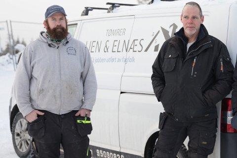 TØMRERE: Martin Lien (33) og Arne Elnæs (54) slår seg sammen til Trømrer Lien og Elnæs AS.