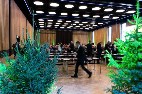SKOG I FOKUS: I fjor ble Sundvollen Hall fylt med grantrær. I år bygger Viken Skog en innendørs tømmerlund.