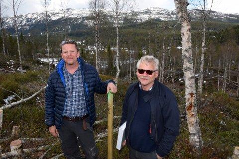 HYTTER OG VERN: Ole Gamkinn og svigersønnen Egil Eriksrud viser fram en av hyttetomtene i Skarrudåsen. I fjellområdet i bakgrunnen er Vikerfjell naturreservat.