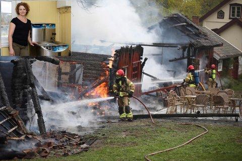 Bygget på Storøen gård hvor May Veden (innfelt) skulle åpne gårdsbutikk i morgen ble totalskadd i brannen.