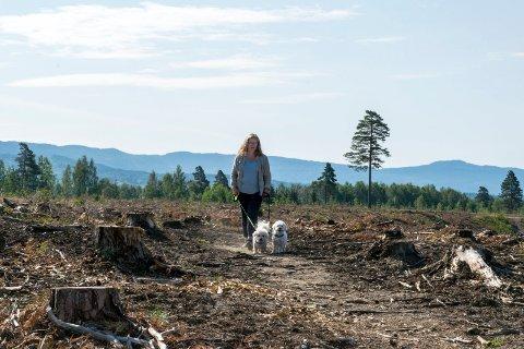 AVSKOGING: Elin Hurum (57) mener skogen på Børdalsmoen ble hogd ned på verst tenkelige tidspunkt. Der er leser Ragnhild Irene Karlsen enig.