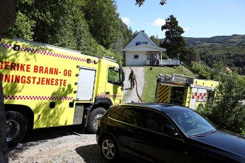 Raskt: Brannen i en garasje på Viul ble raskt slukket.