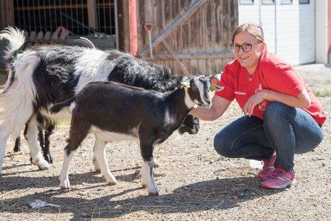 GEITELEIE: Lisa Olsen Høyer (35) på Stavlundstøa gård leier ut geiter som plenklippere og krattryddere. - Geiter er svært effektive og det tar lang tid før kratt og busker er tilbake, sier Lisa.