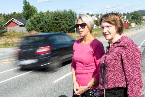 VIL HA TILTAK: Guri Wigenstad Myhre og Lisa Anny Holm Odden i Tyristrand LandsByforening jobber for å få langt bedre trafikksikkerhet langs riksvei 35.