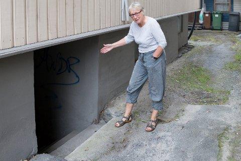 KJELLERTRAPPEN: - Her er første do-sted. Her har jeg plukket opp menneskebæasj og toalettpapir. Vinterstid er det et yndet pissoar, sier Anne Wærstad Bækkevold med galgenhumor.