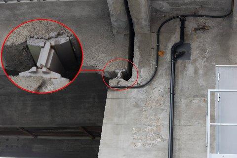 En styrepinne har røket på stålkonstruksjonen som står er merket på bildet.