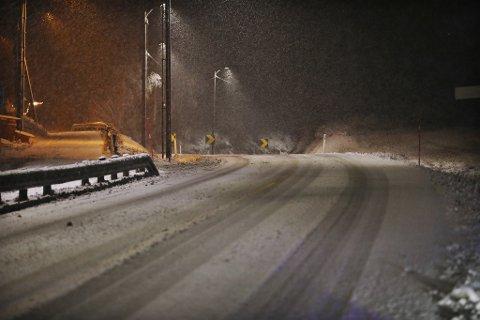 VINTER: Slik så det ut i Haug ved 19-tden tirsdag kveld.