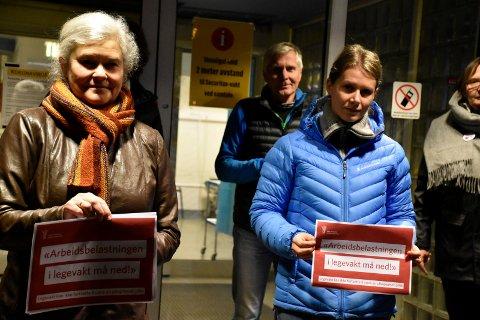 KREVENDE: – Det er krevende å være lege og få belastningen med lange vakter, sier Inger Lyngstad, Tore Næss og Ida Bang Strand.
